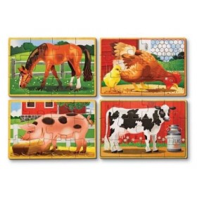 Set 4 puzzle lemn in cutie - Animale domestice