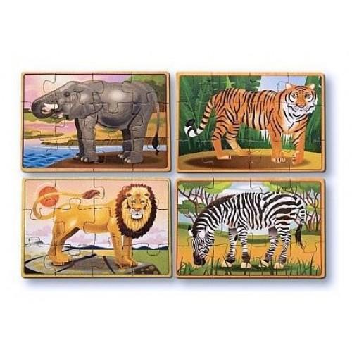 Set 4 puzzle lemn in cutie - Animale salbatice
