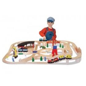 Set Trenulet din lemn cu depou