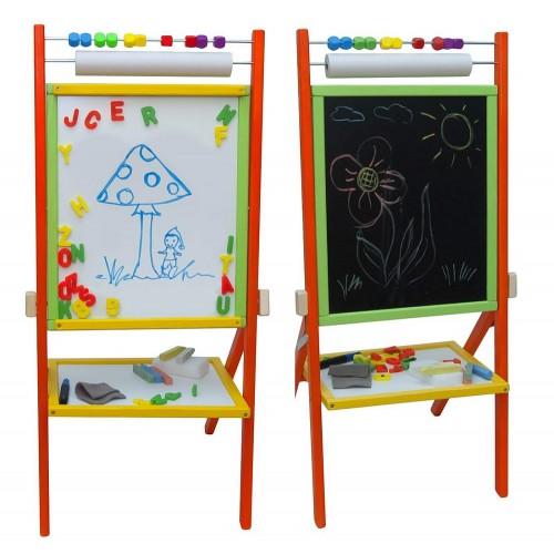 Tabla de scris completa 2 in 1, cu suport si accesorii - multicolora