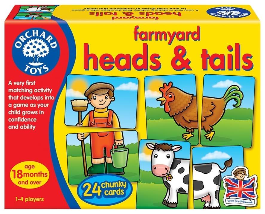 Joc educativ asociere Prietenii de la ferma - Farmyard Heads Tails - Orchard Toys