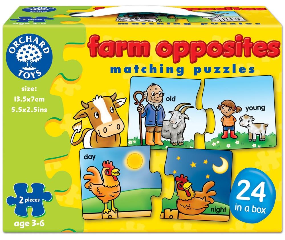 Joc educativ - puzzle in limba engleza FARM OPPOSITES - Orchard Toys