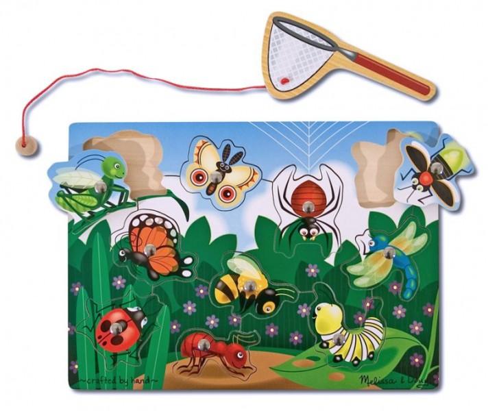Joc din lemn magnetic - Prinde insectele