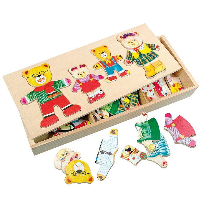 Puzzle din lemn - Imbraca familia de ursuleti - Bino