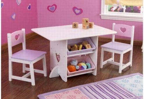 Set 2 scaune si masa cu lazi depozitare inima - KidKraft