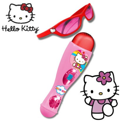 Set microfon si ochelari Hello Kitty