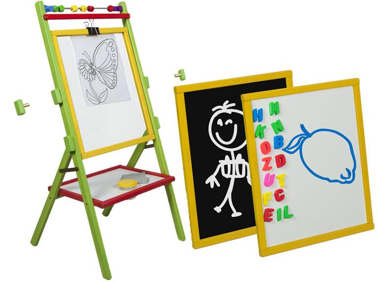 Tabla de scris multicolora 3 in 1, cu suport si accesorii